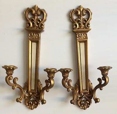 Pair Vintage Syroco Double Armed Candle Wall Sconces 1969 Euc