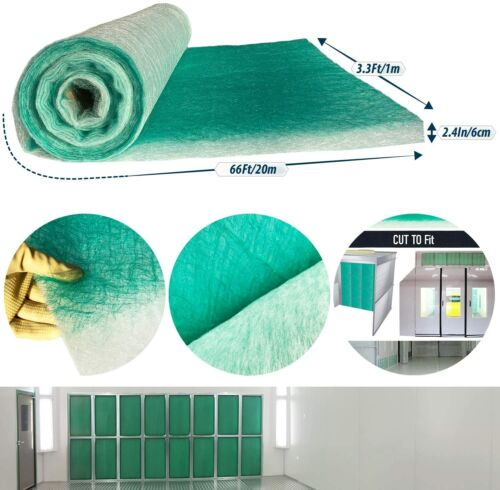 Paint Collection Spray Booth Fiberglass Filter Roll 3.3Ft x 66Ft x 2.5In