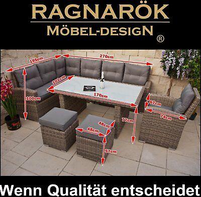 POLY-RATTAN GARTENMÖBEL hohe Dinning Lounge Ragnarök-Möbeldesign Esstisch Sessel
