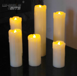 NEW SET OF 6 SKINNY REAL WAX BATTERY OPERATED LED FLAMELESS PILLAR CANDLES
