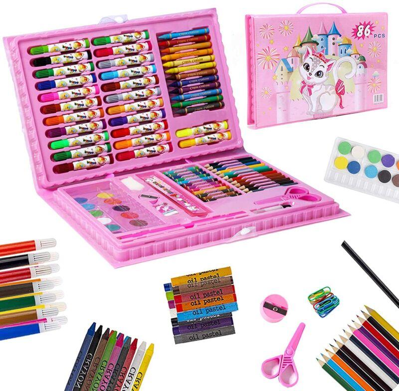 Art Set for Kids, 86 Pcs Drawing Art Kits, Portable Coloring Art Supplies (Pink)