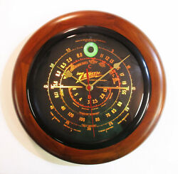 Old Antique Style Zenith Black Dial Wood Wall Clock - Vintage Tube Radio Style!