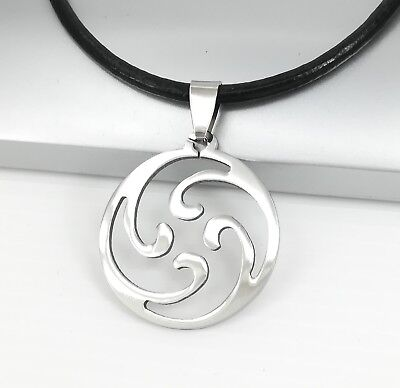 Silver Spiral Ocean Wave Stainless Steel Pendant Black Leather Surfer Necklace