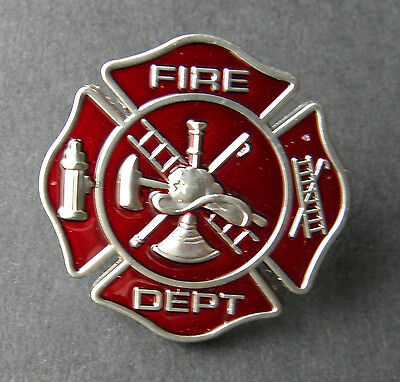 FIREFIGHTER FIRE FIGHTER DEPT MEDALLION SHIELD EMBOSSED LAPEL PIN BADGE 1 INCH