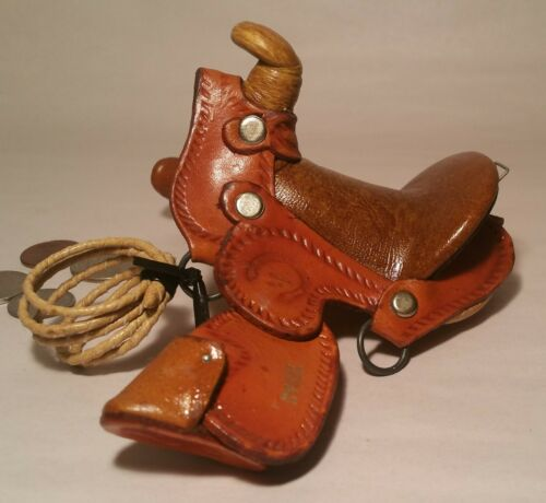 TOOLED LEATHER vtg tiny saddle childs doll toy miniature small horse western art