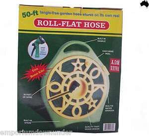 Garden Hose 45ft 14Mtr Roll Flat Reel Stand Water Watering Spray Nozzle fittings