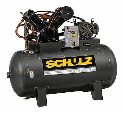 Schulz Air Compressor 7.5hp 3 Phase -horizntal 80 Gal Tank - 30cfm - 175 Psi