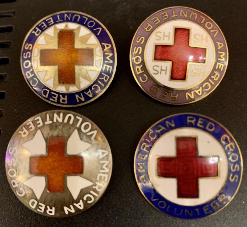 WW2 Era Red Cross & Volunteer Lapel Hat Jacket Enamel Pins Lot Of 4, Vintage