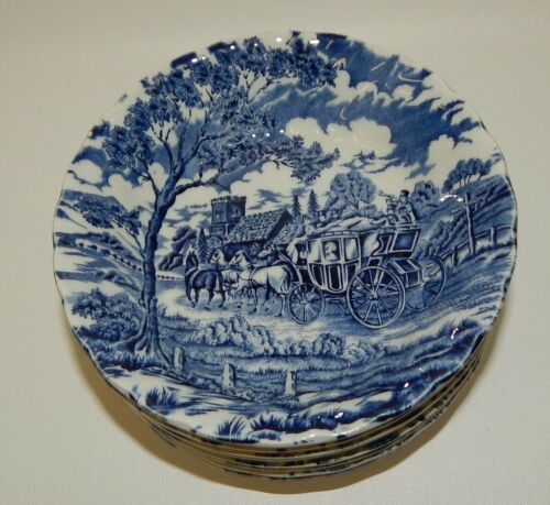 8 Myott Royal Mail Blue Staffordshire England Berry Dessert Bowls