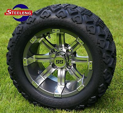 "GOLF CART 12""  GUNMETAL TEMPEST ALUMINUM WHEELS and 20"" AT TIRES (SET OF 4)"