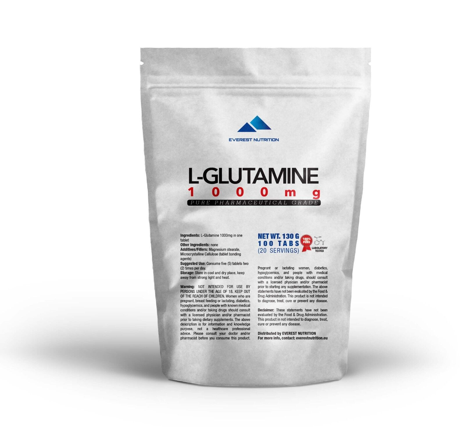 GLUTAMINE 1000 mg TABLETS PURE PHARMACEUTICAL QUALITY ANTICATABOLIC, LEAN MUSCLE