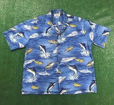 Vintage Pacific Legend Hawaiin Fishing Shirt Size Large Aloha Luau Fish Boat - Hawaiin Luau