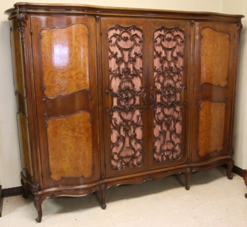 Beautiful Antique Burl Walnut Carved French Armoire Wardrobe 4 Door Circa 1895