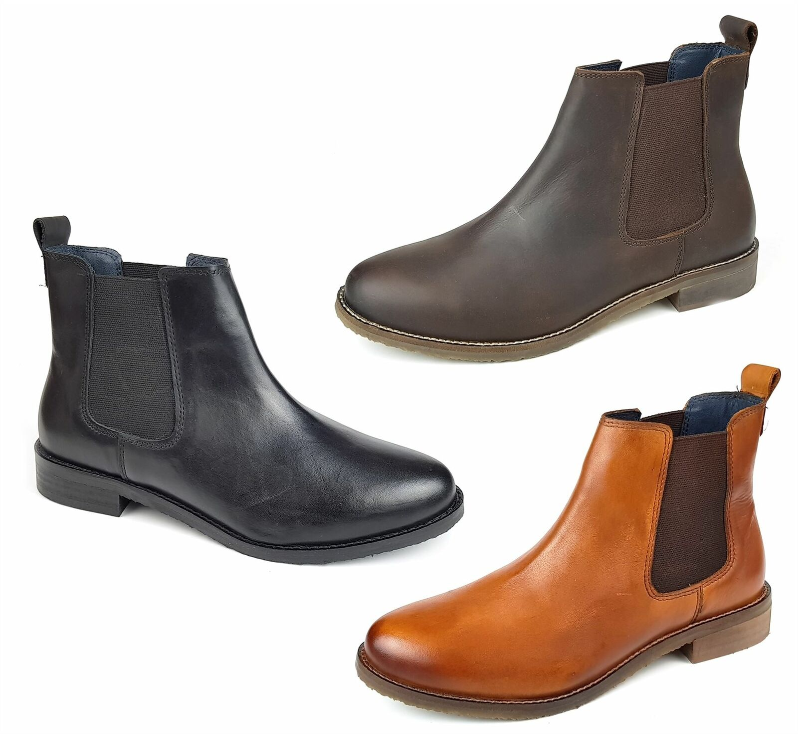Frank James Aintree Ladies Womans Tan Brown Black Leather Chelsea Pull On Boots