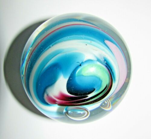 GORGEOUS SIGNED ROLLIN KARG HURRICANE SWIRL WITH EYE PAPERWEIGHT