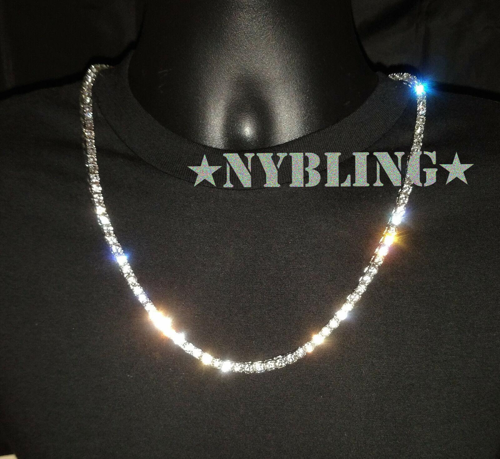 Jewellery - 14K Gold Silver IP Tennis Chain Choker 5mm VVS Lab Diamond Hip Hop ICED Necklace