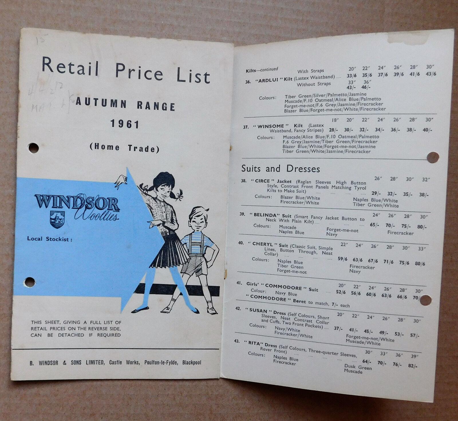 Vintage 1961 catalogue price list Windsor Woollies 1960s childrens fashion e