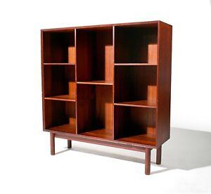 mid century danish modern peter hvidt teak bookcase shelf john stuart