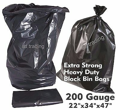 100 Extra Strong Heavy Duty Compactor Sacks 200G Black Bin Refuse Bags Rubble