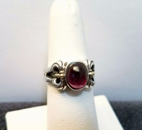 Lagos Caviar Sterling Silver & 18k Gold Amethyst Ring sz 6