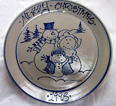1998 Beaumont Brothers Salt Glazed Pottery Snowman Family Annual Christmas Plate