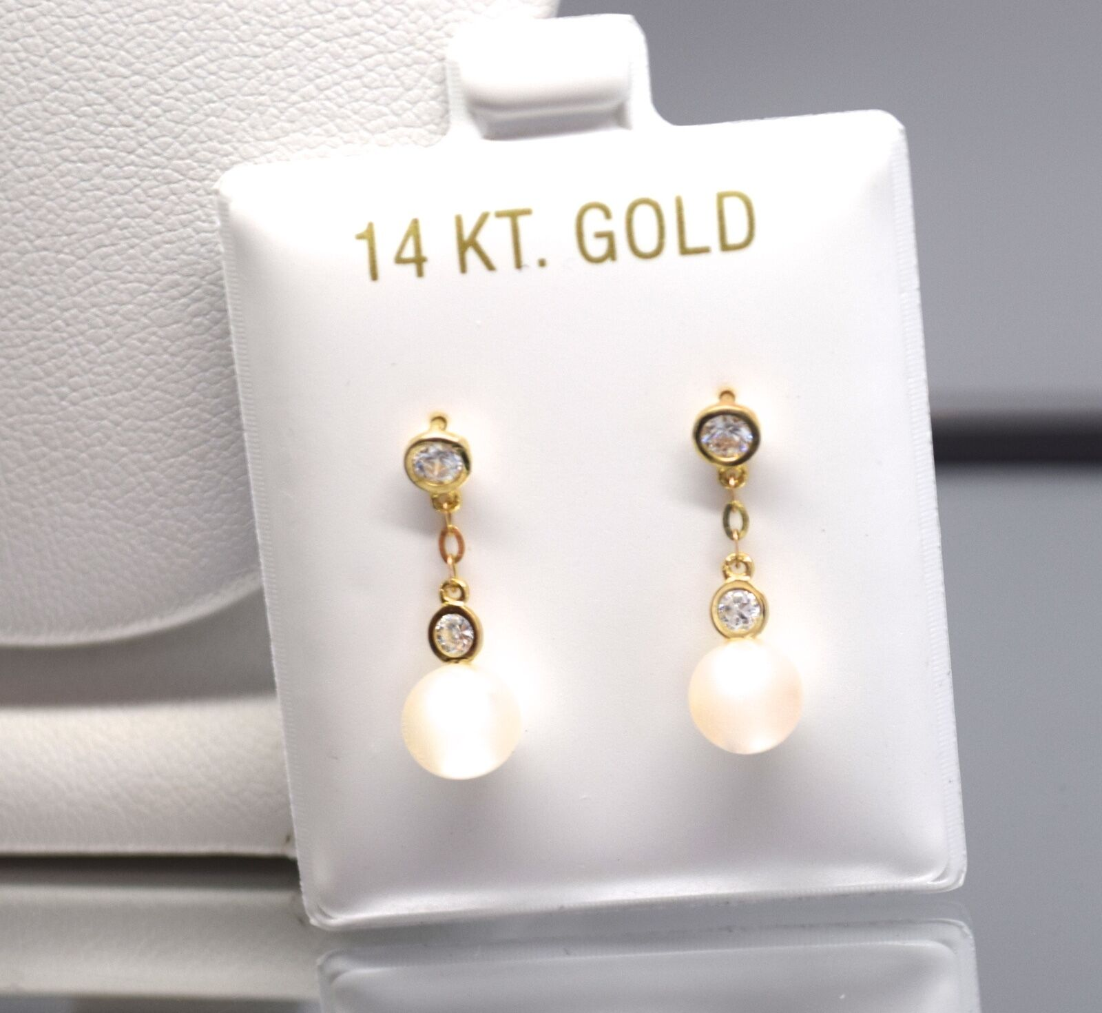 34caba4df Details about 14k Yellow Gold Genuine Drop Dangle Pearl Ball Screw Back  Stud Earrings