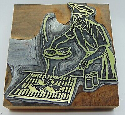 Printing Letterpress Printers Block Man Cooking On Grill