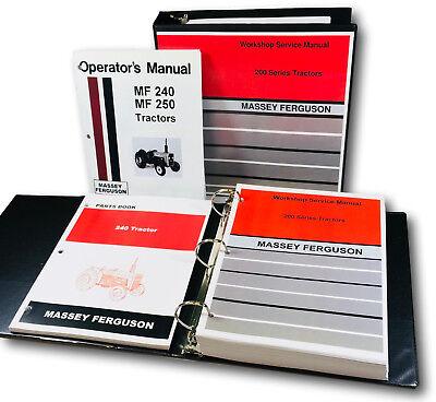 Massey Ferguson 240 Tractor Service Parts Operators Manual Shop Ovhl Master Set