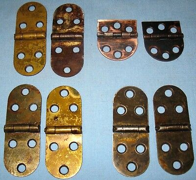ANTIQUE 4-PAIR HINGES DOOR CABINET TABLE CA 1900 1-BRASS 2-BRASS PLATED 1-COPPER