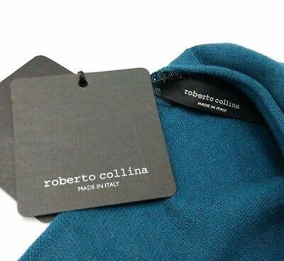 NEW ROBERTO COLLINA LUXURY CREWNECK MEN'S TEAL SWEATER ITALY SIZE 48 US -MEDIUM