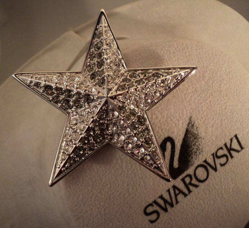 Signed Swan Swarovski Black Diamond & Clear Crystal Star Brooch Pin RARE