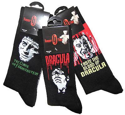 Mens Socks Hammer Horror socks 3 Pairs Dracula and Frankistein mens 6-12 Sh