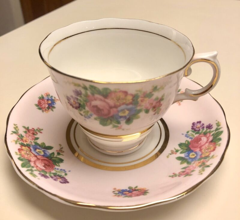 Colclough Pink Rose Flowers tea cup and saucer Bone China England