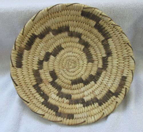Papago Indian Hand Coiled Woven Basket Geometric Fret Designs Yucca Bear Grass