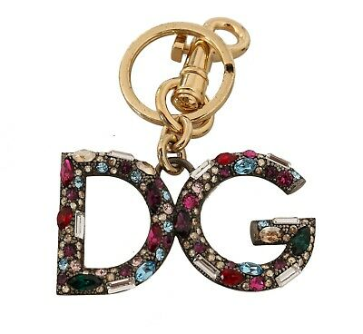 DOLCE & GABBANA Keychain Brass Purple Crystal Gold DG Logo Keyring RRP $450
