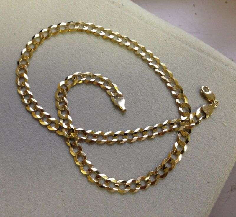 "10k Solid Gold Comfort Concave Cuban Curb Link Chain Necklace 20"" 5.7mm 15 Grams"
