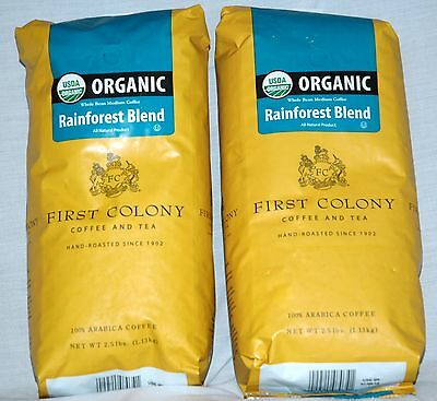 2 Original Colony Coffee & Tea Organic Arabica Whole Bean Coffee Rainforest 40 oz
