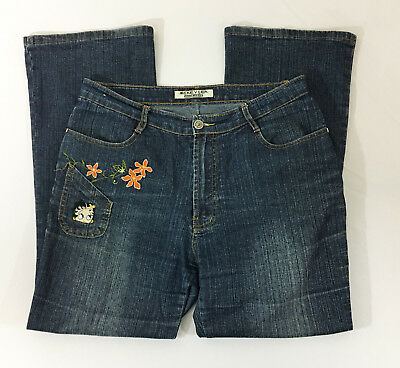 Betty Boop Jeans (P20 Womens Mekeyler Betty Boop Embroidered Denim Jeans Sz 2L)