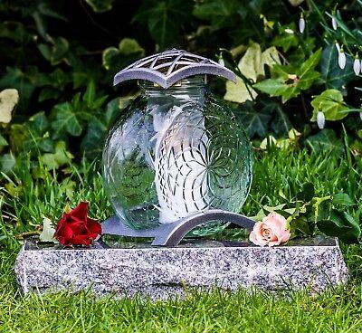 Grablicht 19cm Grablaterne Lampe Grableuchte Glas Grabschmuck Licht silber 07