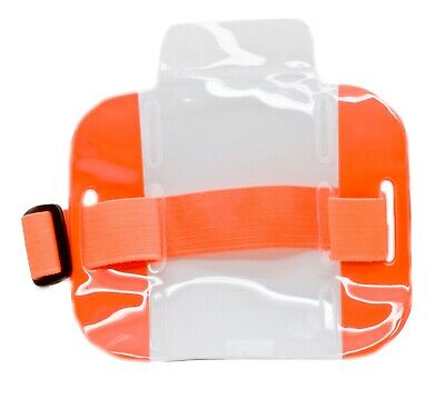 25 Pcs Reflective Orange Arm Band Photo Id Badge Holder Vertical W Elastic Band