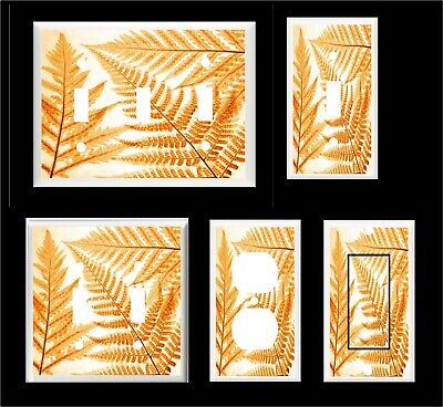 FERN LEAVES ORANGE TONES  LIGHT SWITCH COVER PLATE  OR OUTLET YOU PICK  (Fern Pick)