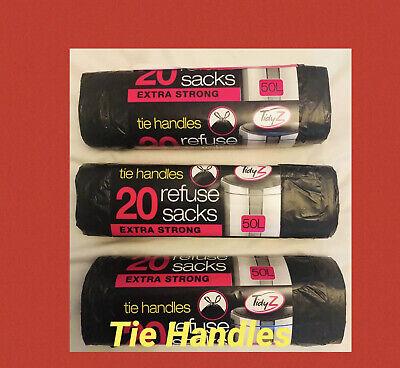 60 x 50 Litre Black Bags Heavy Duty Refuse Sacks Bin Bags British Tie Handle