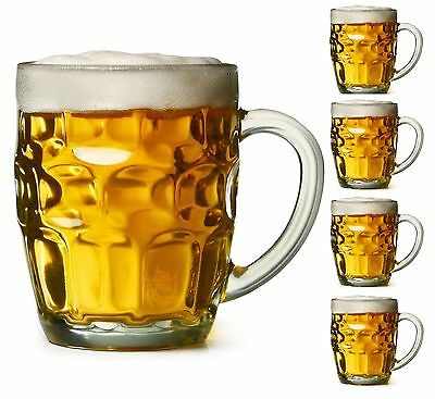 4x Dimple Stein Beer Mug Dimpled Clear Glass Mugs 19.5 Oz (569mL) Each BRAND NEW