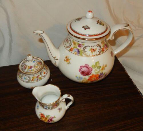 Schumann Empress DRESDEN FLOWERS Tea COFFEE POT CREAMER & SUGAR