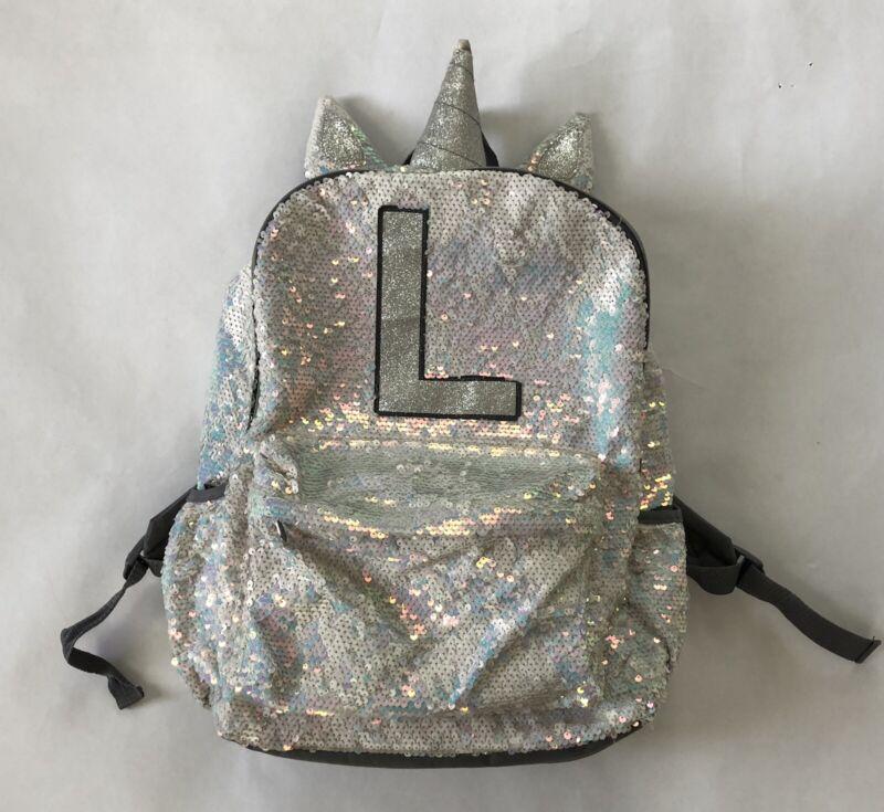 "Justice Sequin Unicorn 17"" Backpack Bookbag Initial L Bag"