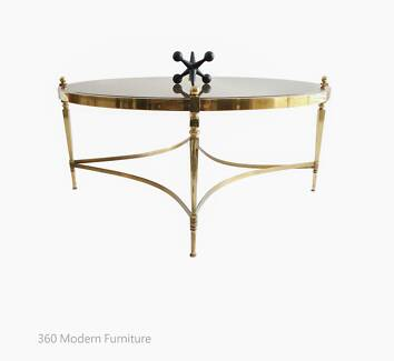 Mid Century Coffee Table Vintage Brass Glass Hollywood Regency