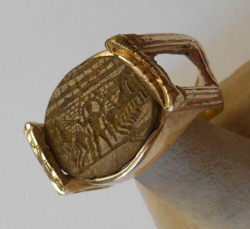 Custom Huge Heavy 14K Ring Real Antique Ancient Roman Intaglio Horses Size 14.5
