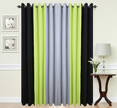 Green Curtains black green curtains : Eyelet ringtop readymade designer curtains BLACK LIME GREEN GREY ...