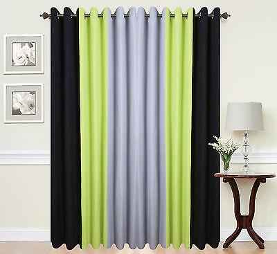 Green Curtains black green curtains : Eyelet ringtop readymade designer curtains BLACK LIME GREEN GREY ...