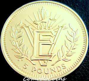1995-Gibraltar-5-Rare-Five-Pounds-Coin-50th-Anniversary-VE-Day-UNC